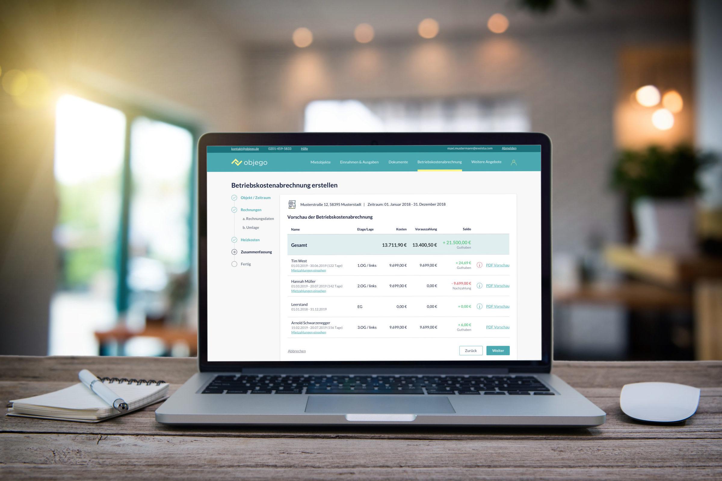 Software für Erstellung der Nebenkostenabrechnung   objego